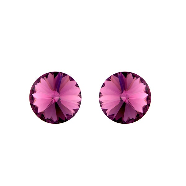 Purple Austrian Crystal February Birthstone Stud Earrings