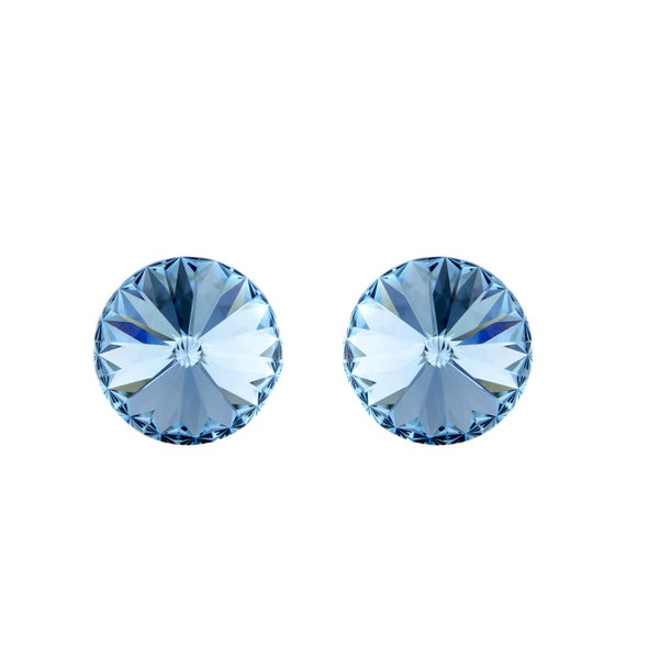 Light Blue Austrian Crystal March Birthstone Stud Earrings