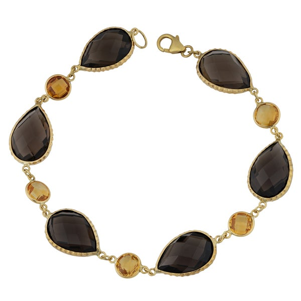 Fremada 14k Yellow Gold with Smoky Quartz and Citrine Briolette Bracelet (8 inches)