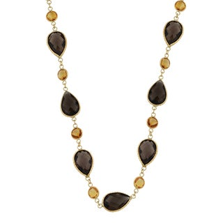 Fremada 14k Yellow Gold with Smoky Quartz and Citrine Necklace (17 inches)