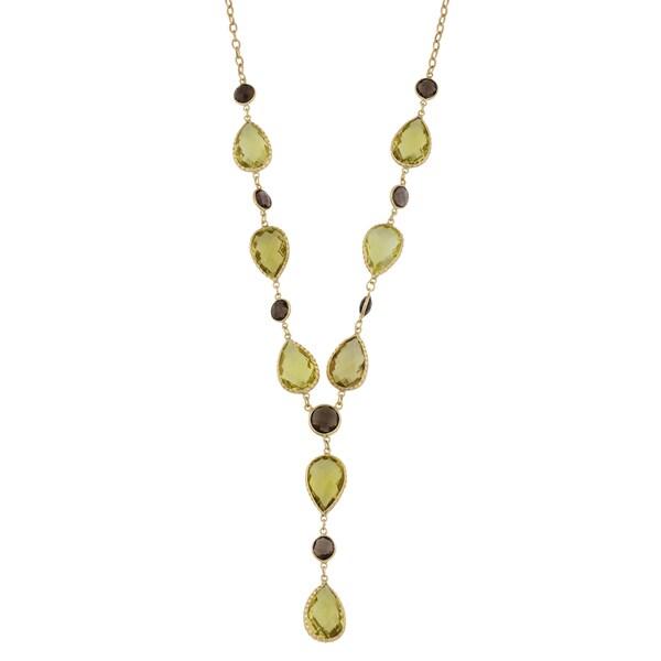 Fremada 14k Yellow Gold Pear-shaped Lemon Quartz and Round Smoky Quartz Lariat Necklace (17 inches)