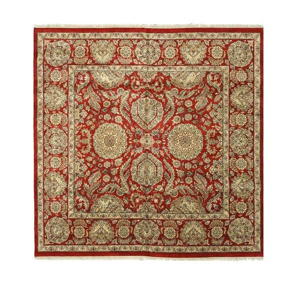 Eastern Oriental 9234 Red Hand-knotted Wool Jaipur Rug (10' Square)