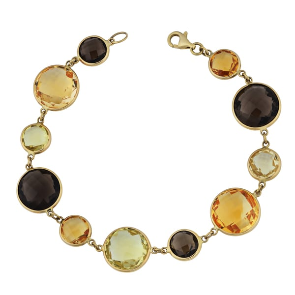 Fremada 14k Yellow Gold Alternate Big and Small Multi Gemstones Bracelet (7.5 inches)