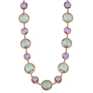 Fremada 14k Rose Gold Alternate Big and Small Round Amethyst Necklace (17 inches)