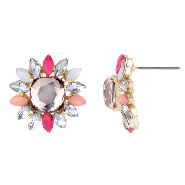 Pink Rhinestone Flower Stud Earrings