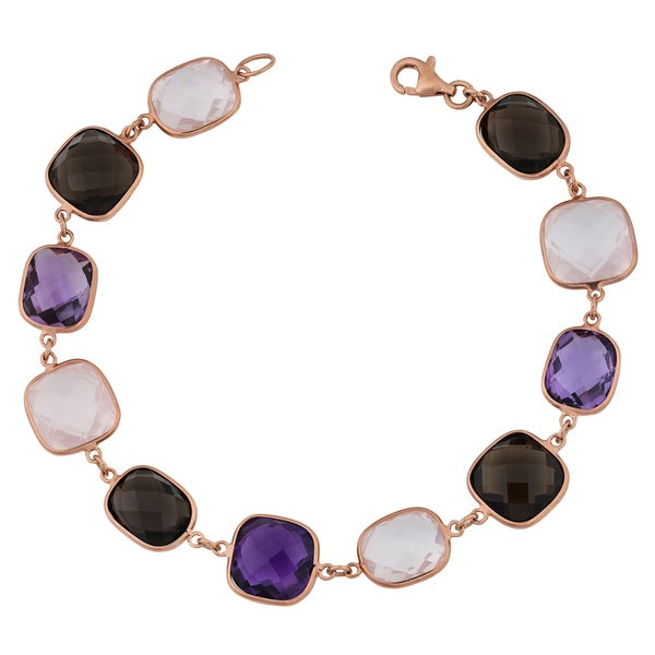 Fremada 14k Rose Gold Alternate Square and Rectangular Multi Gemstones Bracelet (7.5 inches)