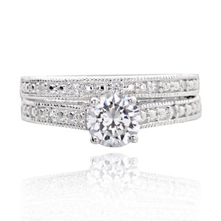 Sterling Silver 0.75Ct Cubic Zirconia 2-piece Bridal Wedding Ring Set (China)