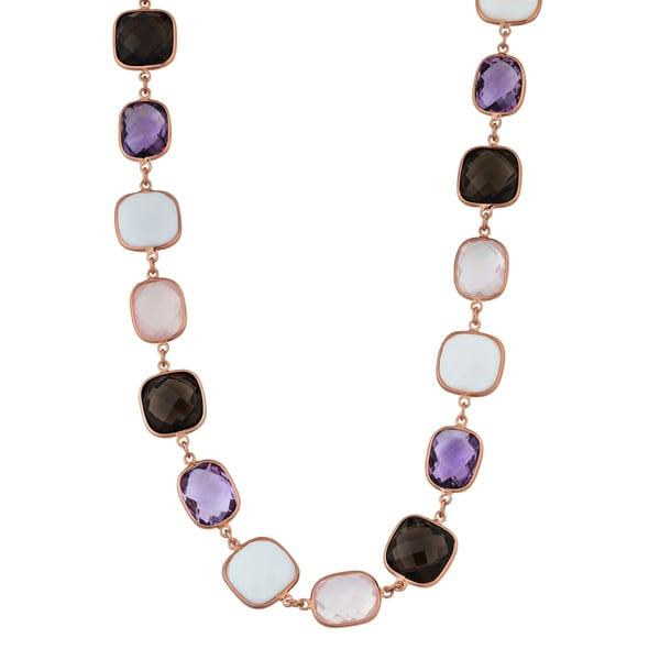 Fremada 14k Rose Gold Alternate Square and Rectangular Gemstones Necklace (17 inches)