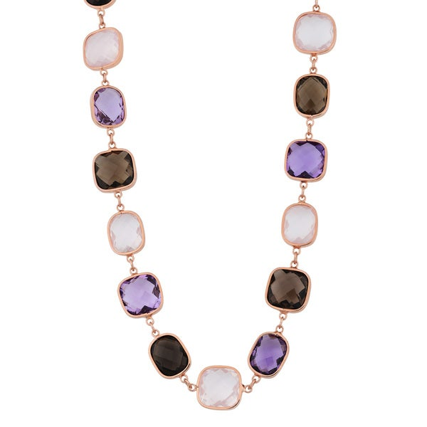 Fremada 14k Rose Gold Alternate Square and Rectangular Multi Gemstones Necklace (17 inches)