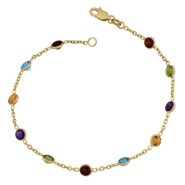 Fremada 14k Yellow Gold Round Multiple Gemstones Bracelet (7 inches)