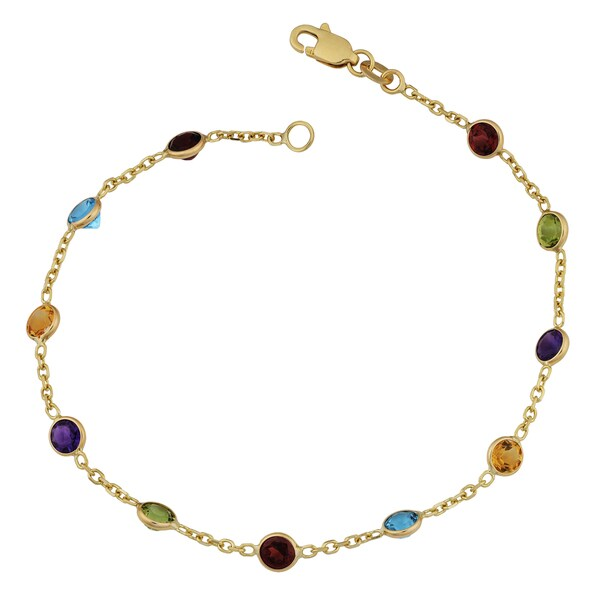 Fremada 14k Yellow Gold Round Multiple Gemstones Bracelet (7 inches)