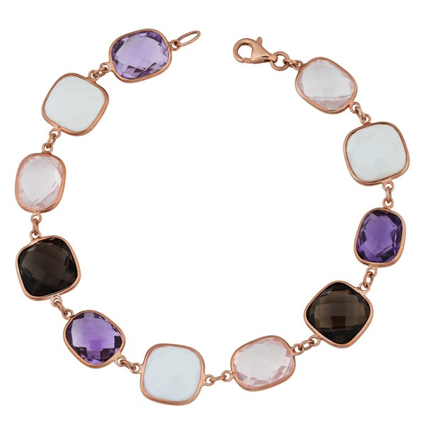 Fremada 14k Rose Gold Alternate Square and Rectangular Gemstones Bracelet (7.5 inches)