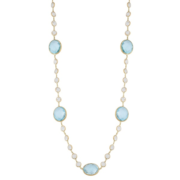Fremada 14k Yellow Gold White Topaz and Blue Topaz Station Necklace (18 inches)