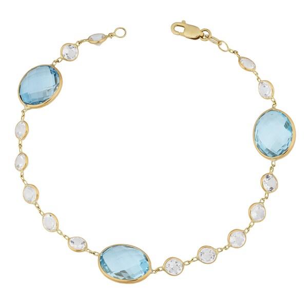 Fremada 14k Yellow Gold White Topaz and Blue Topaz Stylish Bracelet (7 inches)