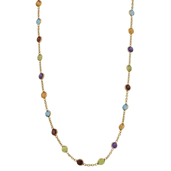Fremada 14k Yellow Gold Round Multiple Gemstones Necklace (20 inches)