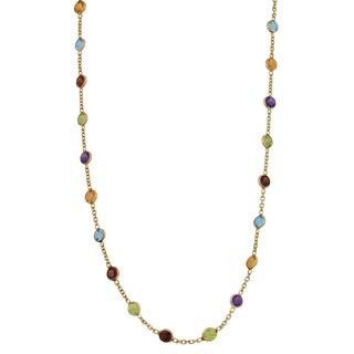 Fremada 14k Yellow Gold Round Multiple Gemstones Necklace (20 inches)