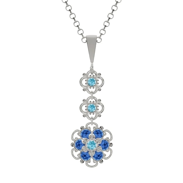 Lucia Costin Sterling Silver Light Blue/ Blue Crystal Pendant 16425366