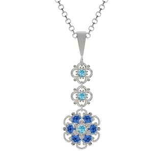 Lucia Costin Sterling Silver Light Blue/ Blue Crystal Pendant