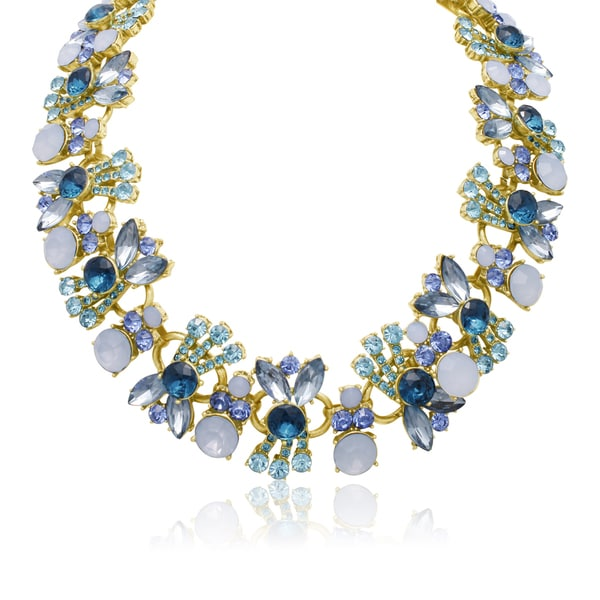 Passiana Aqua And Sapphire Crystal Bib Necklace