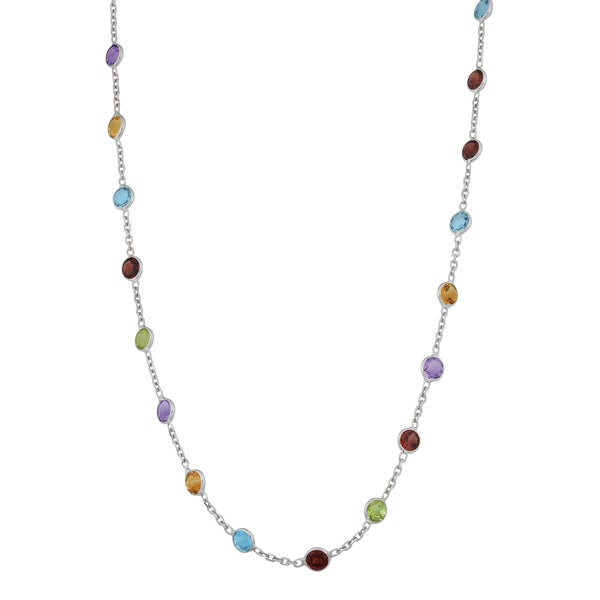 Fremada 14k White Gold Round Multiple Gemstones Necklace (20 inches)