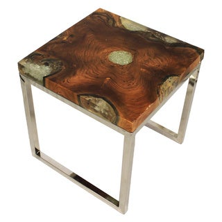 Casa Cortes Wood/Stainless Steel Nesting Accent Table (Set of 2)