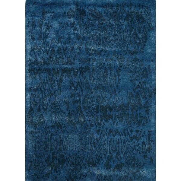 Hand-Tufted Abstract Pattern Dark Denim/Indigo Blue Wool (5 x 8) Area Rug