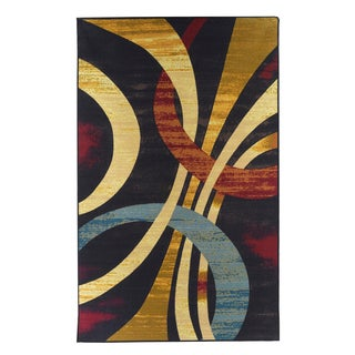 Contemporary Multi-color Wavy Circles Rug (5' x 8')