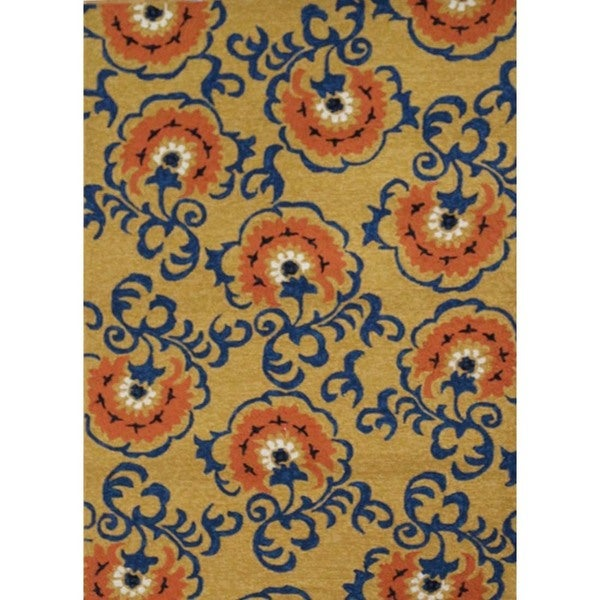 Hand-Tufted Floral Pattern Sunflower/Sunflower Polyester (5 x 7.6) Area Rug