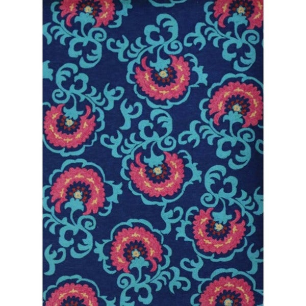 Hand-Tufted Floral Pattern Medieval Blue Polyester (5 x 7.6) Area Rug