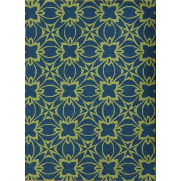 Hand-Tufted Floral Pattern Deep Navy/Dark Lime Polyester (5 x 7.6) Area Rug