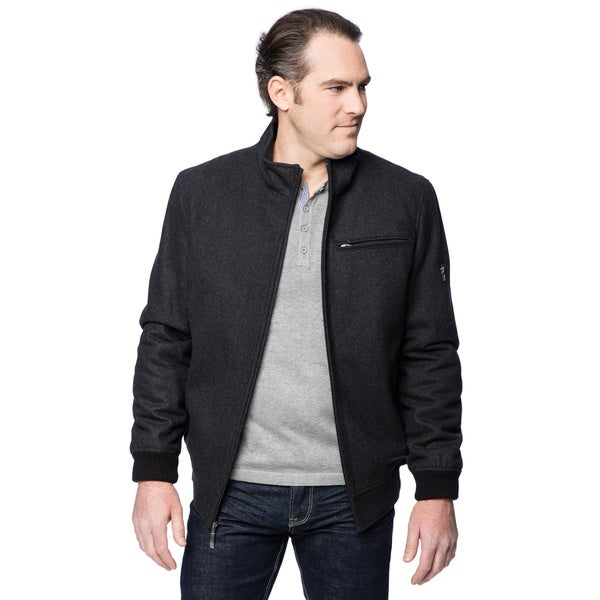 Claiborne Men's Wool Zip Front Bomber Jacket