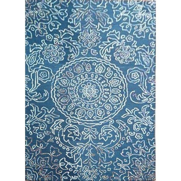 Hand-Tufted Oriental Pattern Mood Indigo/Mood Indigo Wool (5 x 8) Area Rug