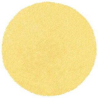 Yellow Shagadelic Chenille Twist (2'x2') Round Shag Rug