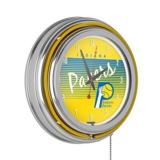 Indiana Pacers Hardwood Classics NBA Chrome Neon Clock