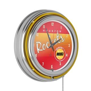 Houston Rockets Hardwood Classics NBA Ring Neon Clock