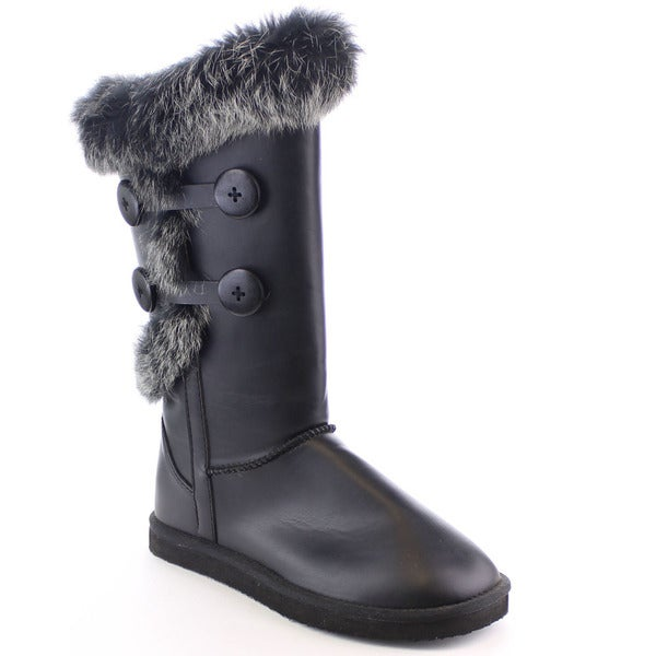 Beston Fa14 Women's Fashion Faux Rabbit Fur Mid-calf Warm Snow Winter Boots