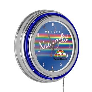 Denver Nuggets Hardwood Classics NBA Chrome Neon Clock