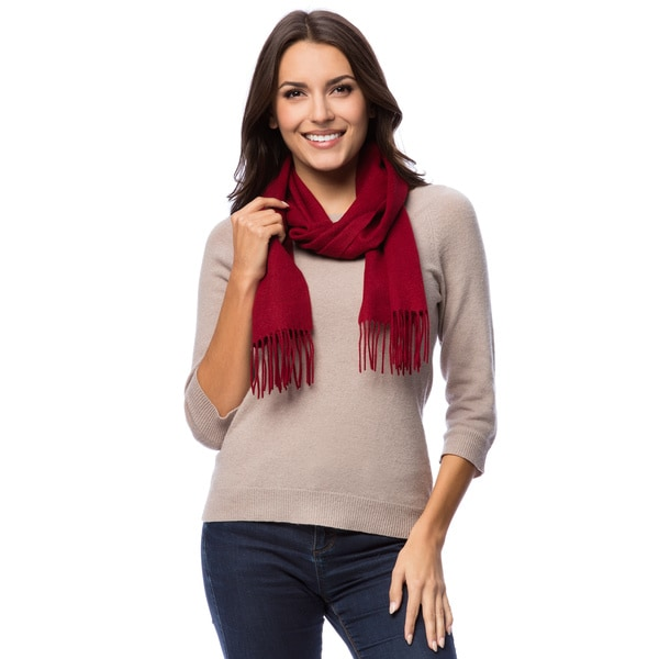 HTC Luxury 100-percent Cashmere Fringe Scarf