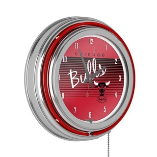 Chicago Bulls Hardwood Classics NBA Chrome Neon Clock