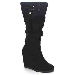 City Classified Women's 'Ester' Slouchy Buckle High Wedge Boot