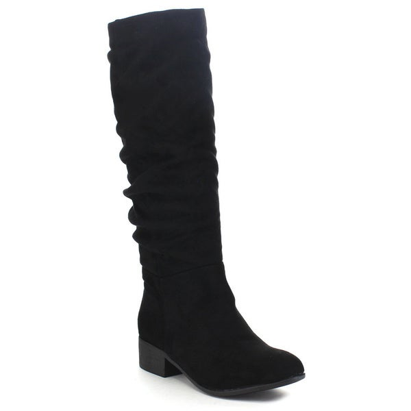 Soda Women's 'Index' Classic Slouchy Cowboy Knee-High Riding Boots (Charcoal-Size 8)(As Is Item)