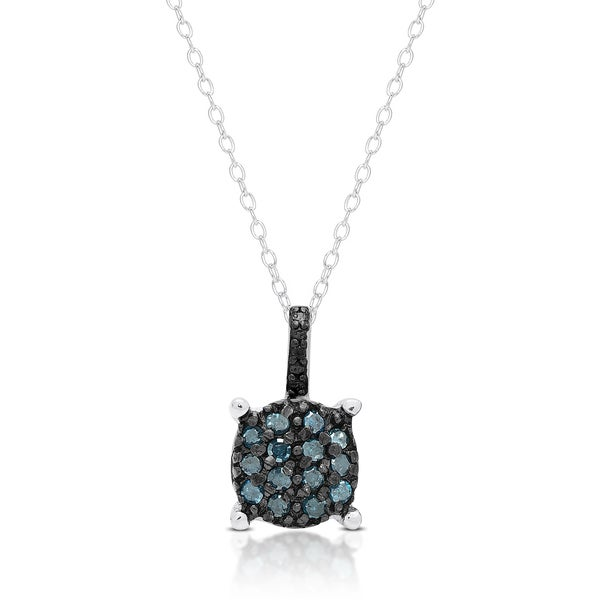 Finesque Sterling Silver Blue Diamond Circle Necklace