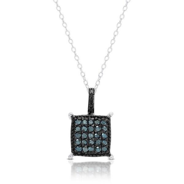 Finesque Sterling Silver Blue Diamond Square Necklace
