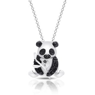 Finesque Gold Over Silver or Sterling Silver Diamond Accent Panda Necklace
