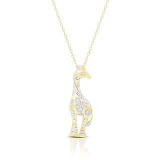 Finesque Gold over Silver or Sterling Silver Diamond Accent Giraffe Necklace