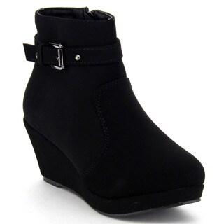Top Moda Women's 'Cotton-15' Buckle High Top Platform Wedge Ankle Booties