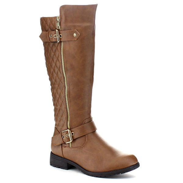 Top Moda Bally-32 Women's Buckle Side Zipper Quilted Knee-high Riding Boots