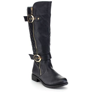 Top Moda Women's Buckle Quilted Knee-high Riding Boots