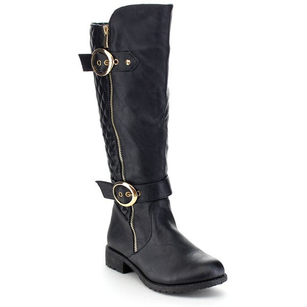 Top Moda Paper-33 Women's Buckle Quilted Block Heel Knee-high Riding Boots