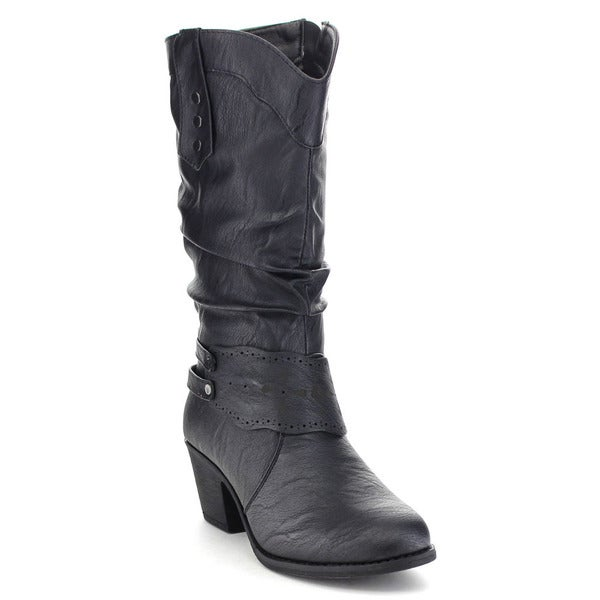 Top Moda Tf-13 Women's Block Heel Slouch Cowboy Under Knee-high Boots